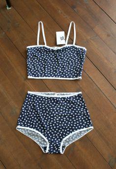 Want! Retro Bra  Panties Set. $35.00, via Etsy.