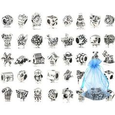 #10: Bundle Monster 40 PC Antique Silver Plated Oxidized Metal Beads Charms Set Mix Lot - Compatible with Pandora Biagi Troll Chamilia Bracelets w/ BM Pouch antiqu silver, oxid metal, metal bead, set mix, charm set, silver plate, antique silver, bead charm, mix lot