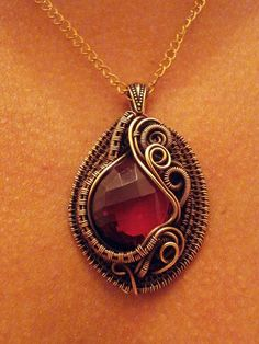 Wire Wrapped Jewelry AAA Pomegranate Pink by PerfectlyTwisted, $69.00