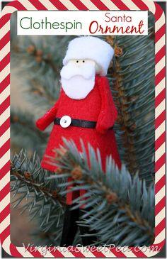 Clothespin Santa Ornament by virginiasweetpea.com