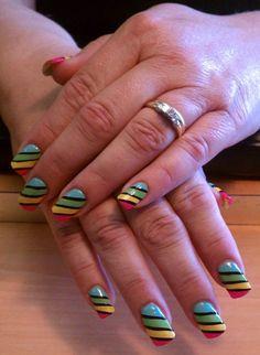 Rainbow Bright Nail Art @Sally McWilliam Hansen Australia #EasterNailLooksforSallyHansenAu