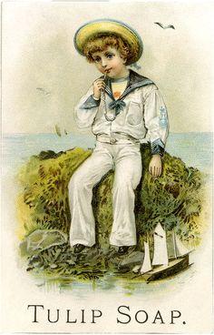 Vintage Sailor Boy Illustration