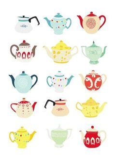 tea time, teapots, tea towels, tea pot, high tea, teas, art, kitchen, prints