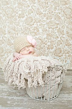 03 months Oat colored cloche with light pink by maddieloubeanies, $22.00