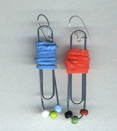 found object earrings: beads, rubberbands, paper clips  $15