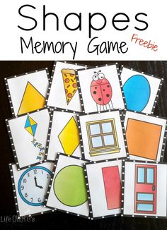 A fun FREE memory game for practicing shapes and seeing 'real-life' examples of shapes. #preschool #education (repinned by Super Simple Songs)