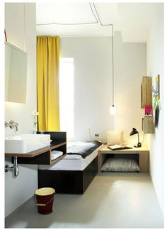 grey and yellow hotel room