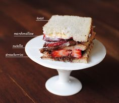 ...a strawberry, nutella, and toasted marshmallow club sandwich. Simply layer thin slices of toast with the above ingredients for a delicious {and somewhat nutritious} snack for breakfast, lunch, or dessert... — Joy (delicious yes, nutritious no)