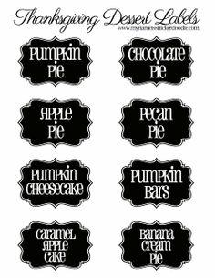 delici food, dessert label, printabl thanksgiv, dessert delici, names, thanksgiving foods, thanksgiv dessert, healthy desserts, thanksgiving desserts