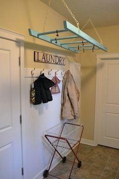 ladder, pot racks, hanger, laundry rooms, hous, kitchen, place, laundri room, clothes lines