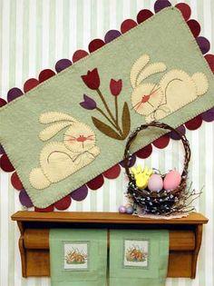 Bunny Pattern penny rugs, rug patterns, quilt, felt, páscoa, pennies, appliqu, penni rug, wool