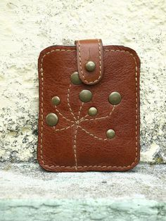 Brown Leather wallet, Credit Card Holder, Studded Leather Business card Case, Rustic Brown / september finds