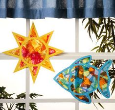 colorful tissue paper fish and sun suncatchers