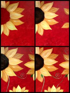"Evolution of ""Sunflower on Red"" Painted @ Painting with a Twist-Miami"