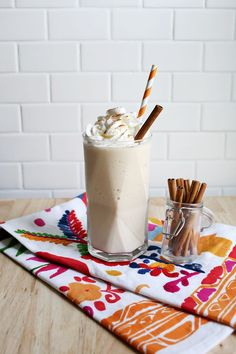 Frozen almond spiced chai really bridges the beverage gap between summer and fall.