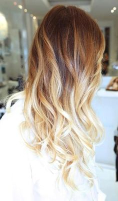 Stunning cinnamon to soft golden ombre  #Hair #Color #Ombre hair colors, ombre hair color, summer hair, ombrehair, new hair, wave, blond, hairstyl, highlight
