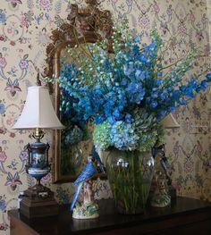 blue delphiniums and hydrangea arrangement