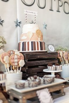 Hot Air Balloon Cake :: Vintage Hot Air Balloon Themed Baby Shower styled by The TomKat Studio