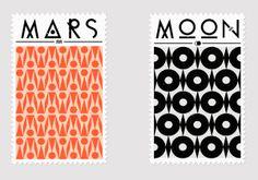 car accessories, stamp, business cards, graphic, patterns, bold prints, moon art, mar, art nouveau