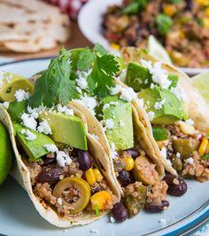 Black Bean, Corn and Quinoa Picadillo Tacos
