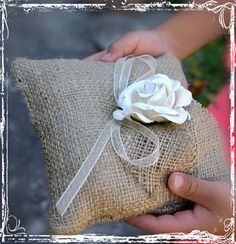 Burlap Ring Bearer Pillow  Rustic Weddings  by sparkleandposy, $18.00