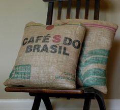 burlap, brazil, thing brasil, coffe sack, coffee sacks, sack pillow, barista friend, decor pillows, coffee bags