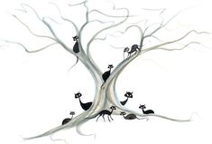 Tree of Nine Lives Giclée by P Buckley Moss... I LOVE this!  WANT. cat, tree