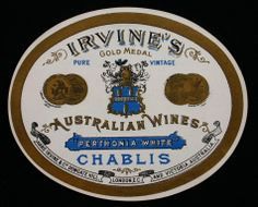 vintage wine labels for sale | Wine Label - Great Western Winery, Chablis, 'Perthonia-White', 1905 ...