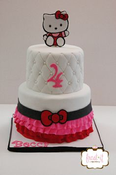 tier fondant Hello Kitty cake Birthday cake Fondant Cake cake ...