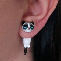 clays, polymerclay, faux gaug, grumpi cat, polymer clay, jewelri, cat earring, grumpy cats, earrings