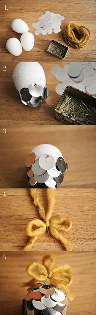 Pinecone Ornament DIY by Skunkboy Creatures., via Flickr