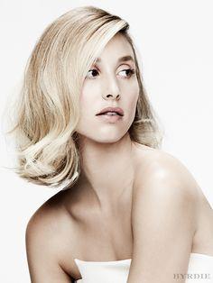 Whitney Port models a sleek, yet undone '60s hairdo. // #Beauty #Weddings