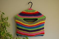 free pattern revelry - stripey crochet peg bag. Could be cute to store mittens in for winter, nylons in the closet, small toys in the kids room. So many ideas!