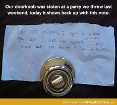 Lost doorknob returns