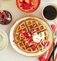 Whole-Grain Waffles With Strawberries and Almonds recipe