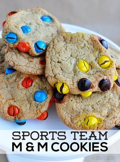 Sports Team M&M Cookies  - perfect to make for treats for any sport.  Or to root your team on!