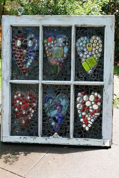 Pretty in the Sun  - For the Home, Garden , Balcony etc...  ART for an OLD WINDOW , Glue FLAT bottomed Glass Stones onto Glass in the Frame . Your choice of designs and colours... (Glass stones, marbles and pieces with flat bottoms can be found at $$ Stores and Craft Stores )