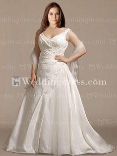 Elegant Taffeta V-Neck A-Line Plus Size Bridal Gown PS176 #photoshopfail  Deff not her face!