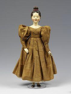 ca. 1830 fashion doll - silk, cotton, wool clothing
