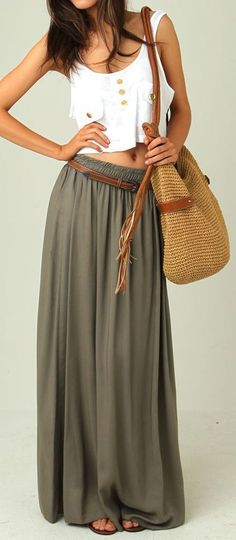 Lovely long skirt with belt and white top for summer