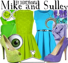 Disney Inspired Outfits - Mike and Sully Fashion, Disney Inspired Outfits, Cloth, Disney Bounding, Inspir Outfit, Monsters Inc, The Dress, Disneybound, Costume Parties