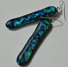 Fused Glass Earrings Dichroic Long Dangle Earrings by uniquenique, $25.00 #onfireteam #teamfest #tbec #lacwe #earrings #accessories #jewelry
