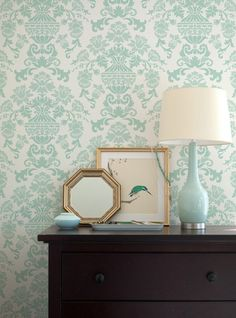 Feminine and dreamy stenciled wall using our Encantada Damask wall stencil from The Hearst Castle Collection in my assistant's bedroom