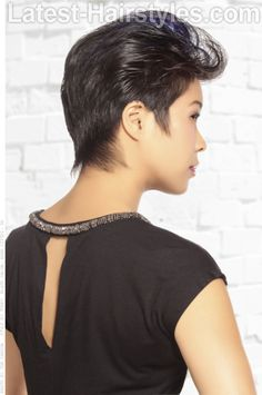 Short Hairstyle with Blue Highlights Back View