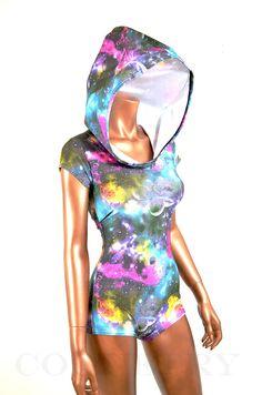 Galaxy Space Print Bodysuit Romper Hoodie with Boy Cut Leg UV Glow  -E7175  Burning Man Gear