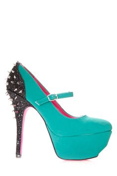 "Check out these ""Shimmery Spiked Suede Pumps"" which have a chic litte combination of Mary Jane, glitter, and spikes for a wild gal like you! check them out and other glittter and studded goodies on www.cicihot.com #cicihot #love #spikes #studs #teal #glitter #pinkbottoms #maryjane #heels #pumps #platform #spingrstyles #fashion #springfashion #fashionista"