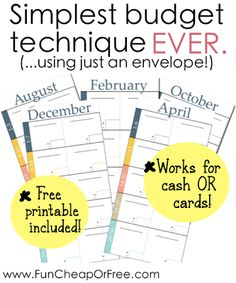 The Fun Cheap or Free Queen: Simplest budgeting technique EVER. Includes FREE printables!