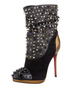 Christian Louboutin Spike Wars Red Sole Ankle Bootie, Version Black - Bergdorf Goodman