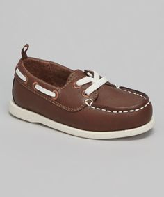 This Brown & White Tom Boat Shoe by Carter's is perfect! #zulilyfinds