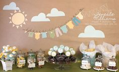 Baby shower complete with banner & coordinating treats